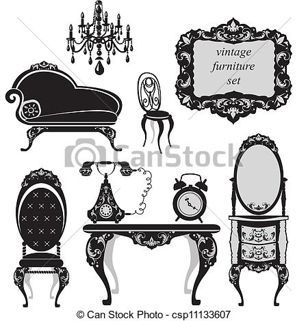 Vector Clipart of Set of antique furniture.
