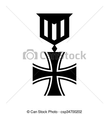 Vector Clipart of Old german medal icon, simple style.