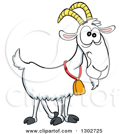Outline Clipart of a Cartoon Black and White Goat Wearing a.