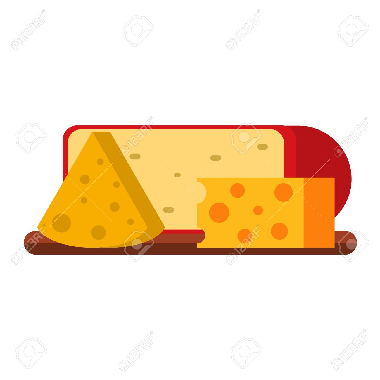 Delicious Fresh Cheese Variety Icon Flat Isolated Vector.