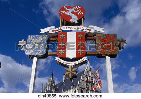 Stock Image of Holland, Gouda, Old Town, Town Hall, Crest djh49855.