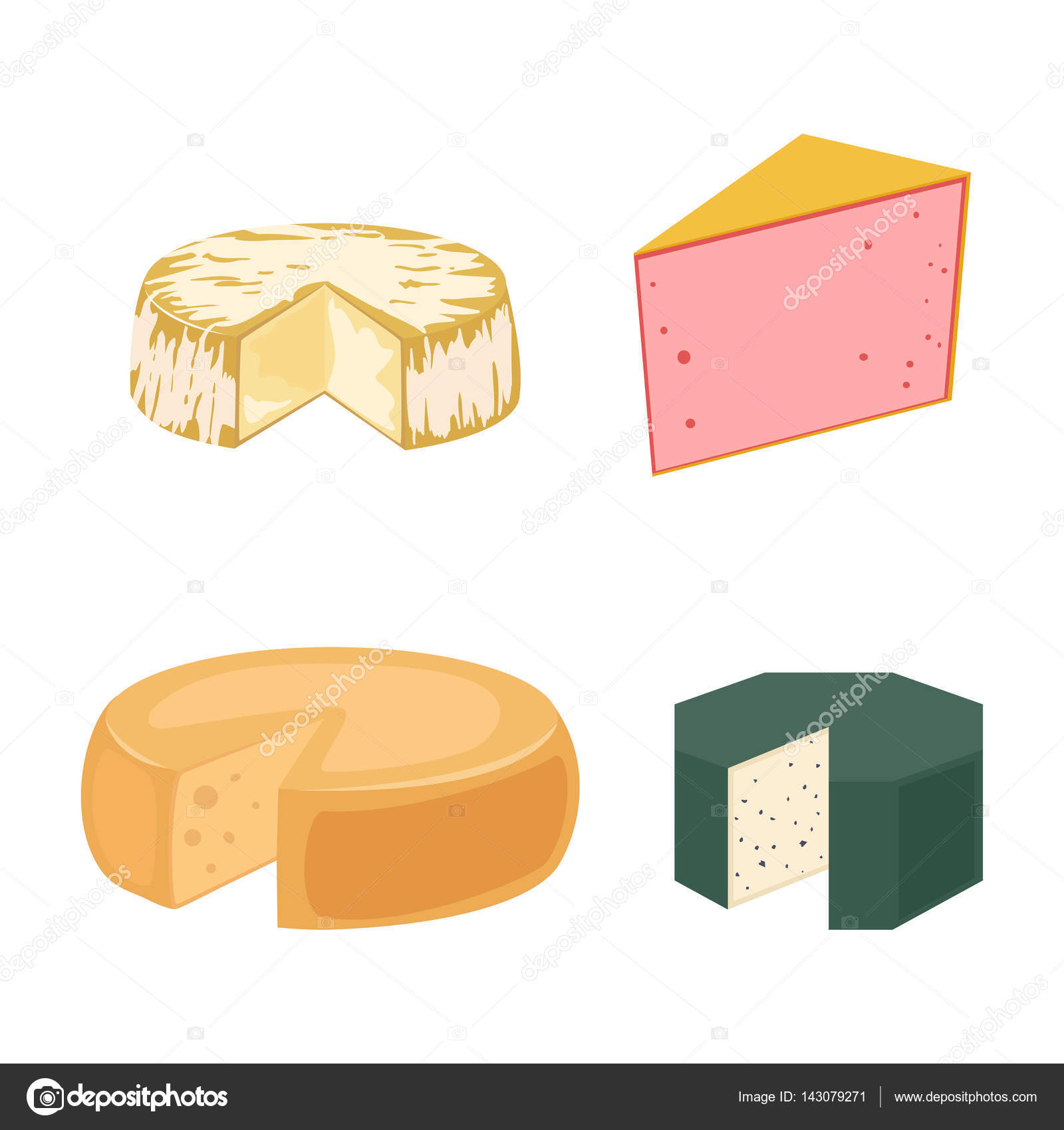 Delicious fresh cheese variety italian dinner icon flat dairy food.