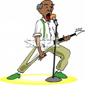 Old Man Playing Guitar Clipart.