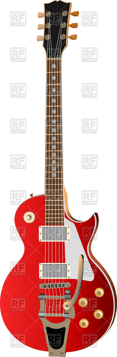 Old electric guitar on white background Vector Image #56904.