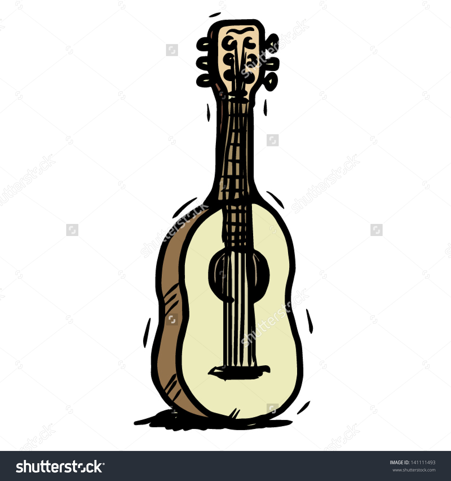 Old Guitar / Cartoon Vector And Illustration, Hand Drawn Style.