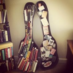 guitar case with stickers.