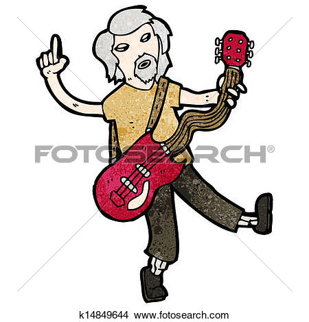 Clipart of cartoon old guitar player k14849644.