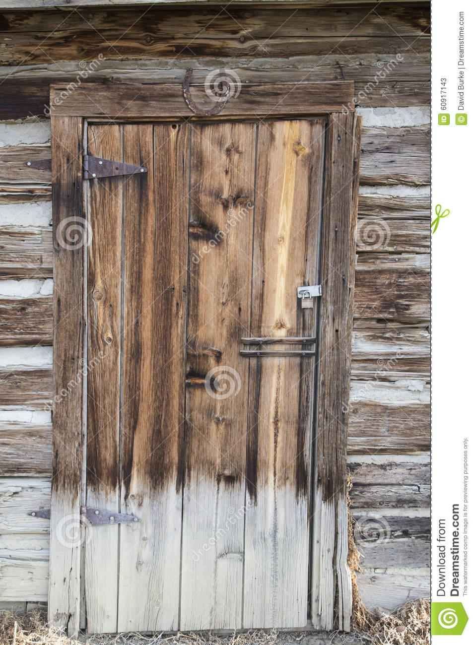 Vintage Wooden Cabin Door Stock Photo.