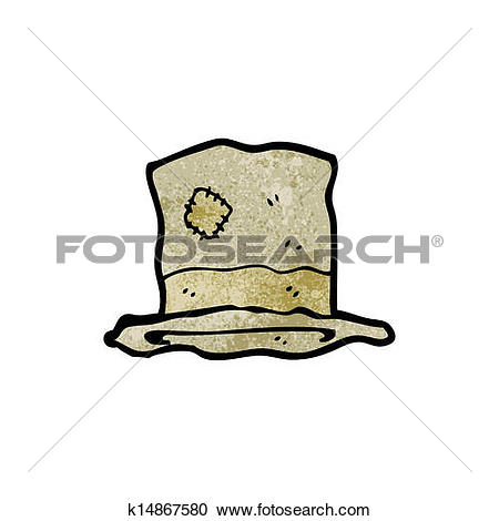 Clipart of cartoon old battered top hat k14867580.