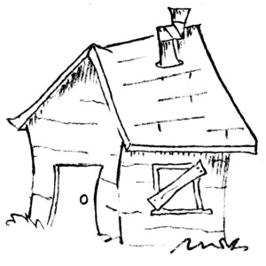 Free clipart of old shack house.