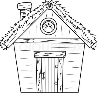 Hut Clipart Black And White.