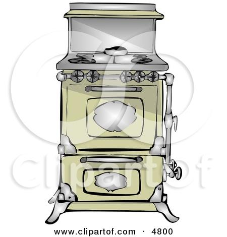 Antique Retro Kitchen Stove & Oven Clipart by Dennis Cox #4800.