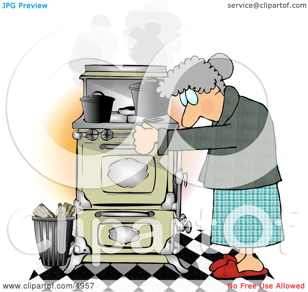 Elderly Woman Cooking Food On an Old Household Kitchen Stove.