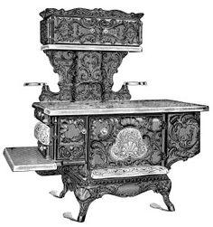 antique stove clip art, black and white clipart, vintage kitchen.