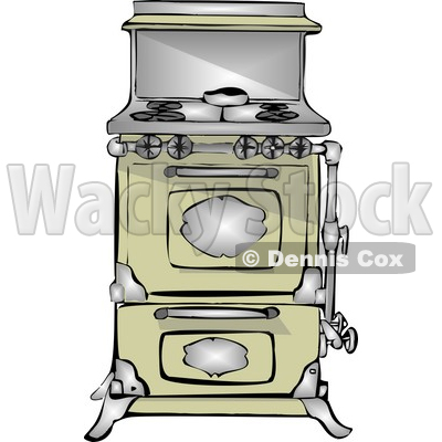 Retro Kitchen Stove & Oven Clipart © Dennis Cox #4800.
