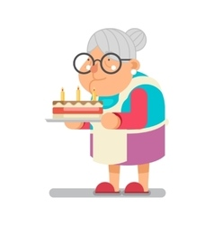 Old Lady with Birthday Cake Vector Images (16).