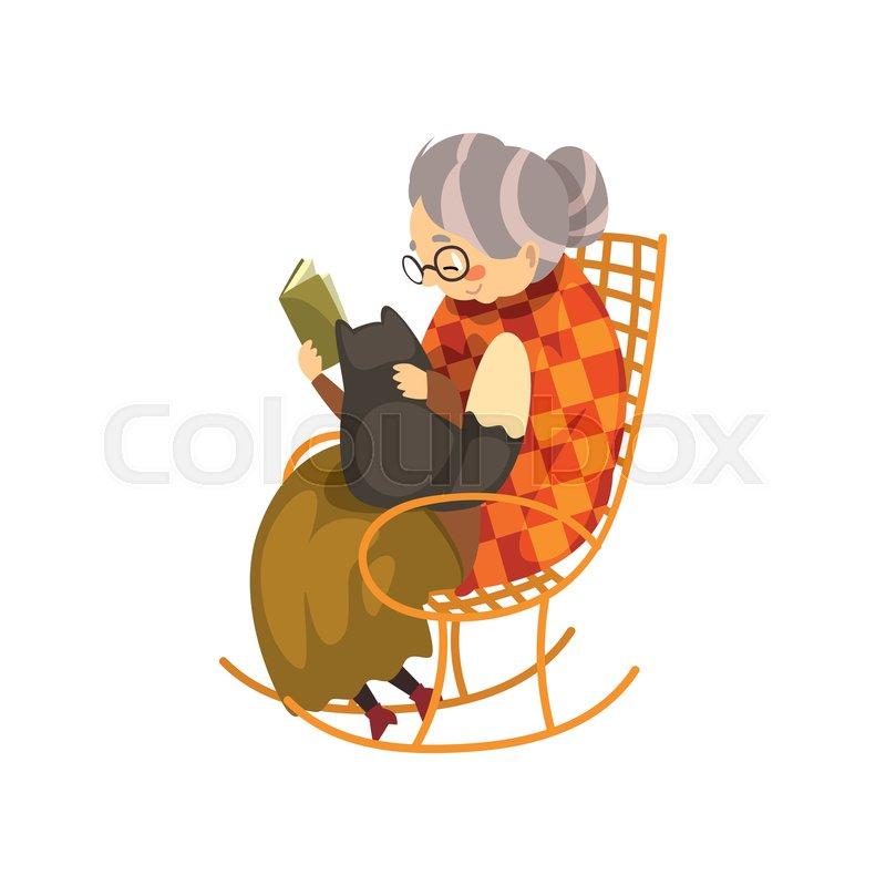 Cute granny sitting in a cozy rocking.