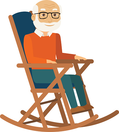 Old lady in rocking chair clipart.