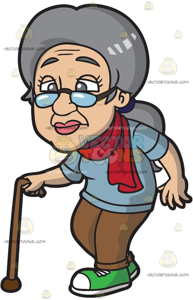 A Frail Old Woman Walking With A Cane: An old woman with.