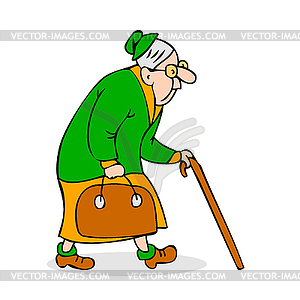 Old woman with cane and bag. Grandmother with.