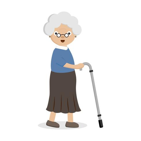 Old woman with a cane..