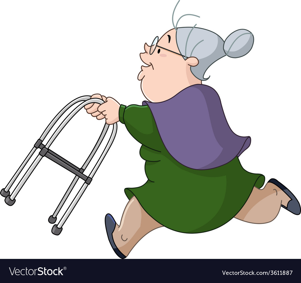 Old woman running with walker.