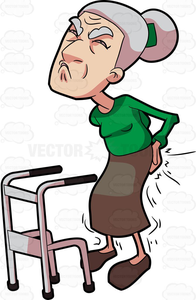 Old Woman With Walker Clipart.