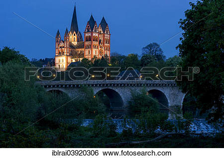 """Stock Images of """"Limburg Cathedral or Georgsdom, Alte Lahnbrucke."""