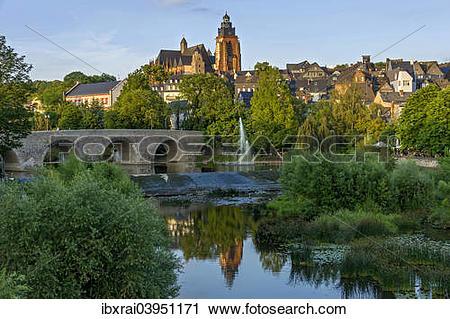 "Stock Photography of ""Wetzlar Cathedral, Old Lahn Bridge."