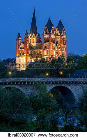 """Picture of """"Limburg Cathedral or Georgsdom, Alte Lahnbrucke, Old."""