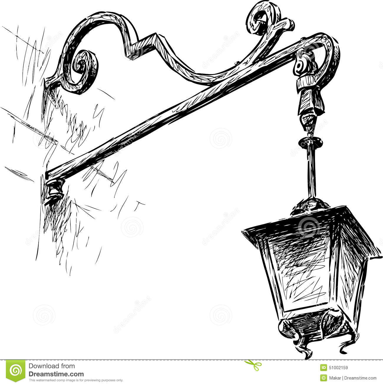 Old Street Lamps Clipart.