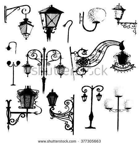 Old Street Lights Symbol Hand Drawn Stock Vector 377305663.