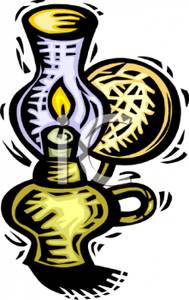 Colorful Cartoon of an Old Fashioned Oil Lamp.