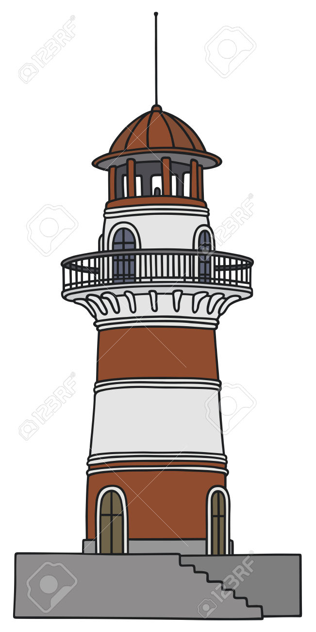 Hand Drawing Of An Old Lighthouse Royalty Free Cliparts, Vectors.