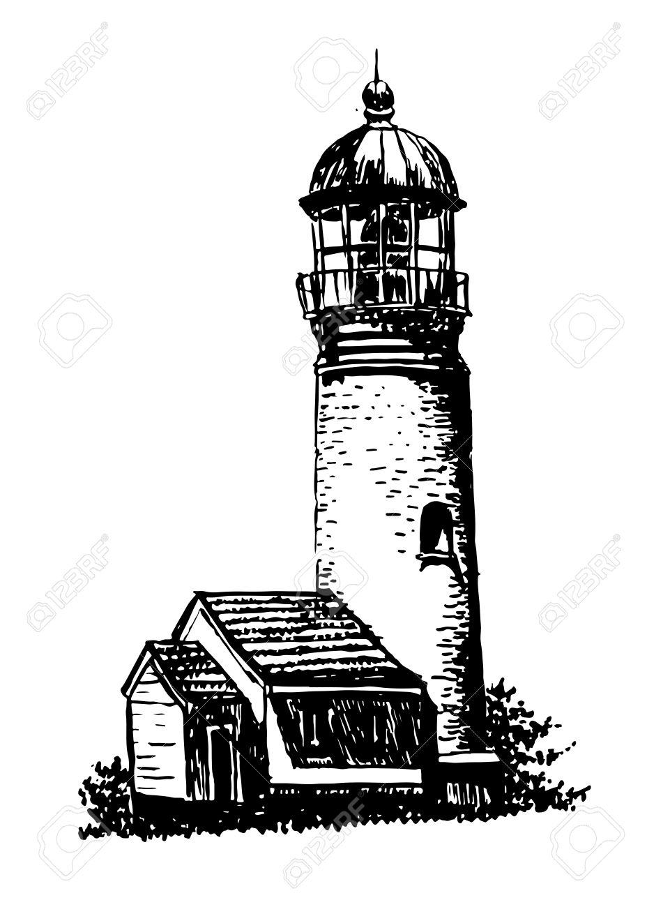Drawing Old Lighthouse Sketch Illustration Royalty Free Cliparts.
