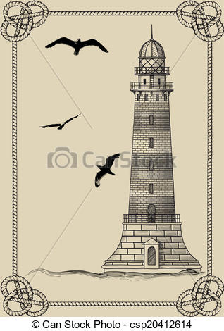 Vector Clip Art of Old lighthouse in frame.