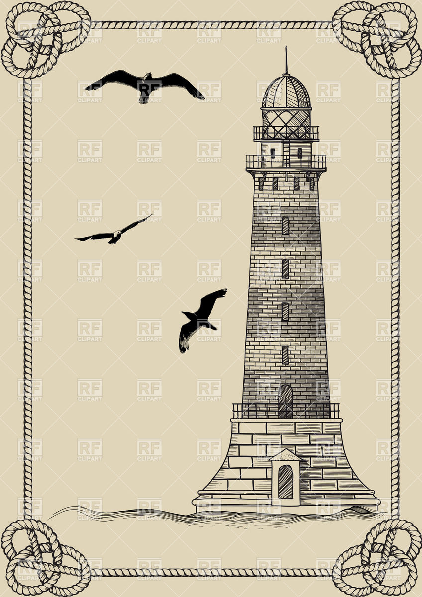 Vintage postcard with old lighthouse with seagulls and border made.