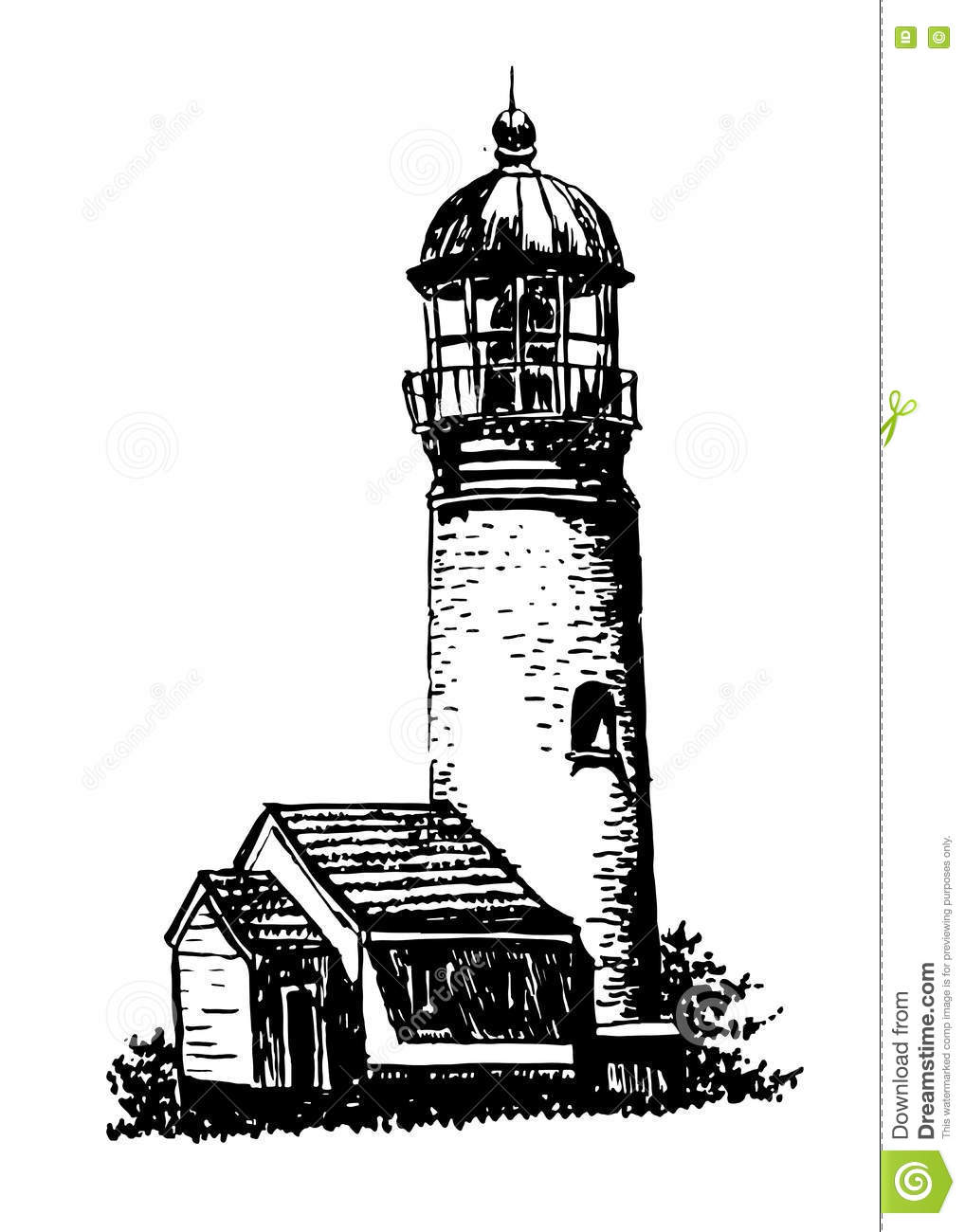 Drawing Old Lighthouse Sketch Illustration Stock Vector.