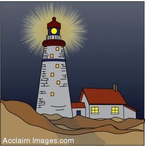 Clip Art of a Nighttime Lighthouse.