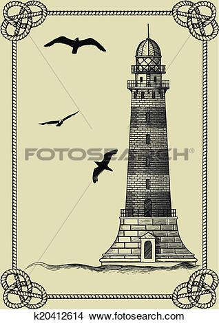 Clipart of Old lighthouse in frame k20412614.