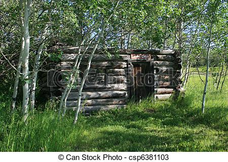 Picture of Old cabin in the woods.