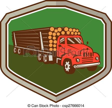 Vector Clip Art of Truck Vintage Logging Shield Retro.