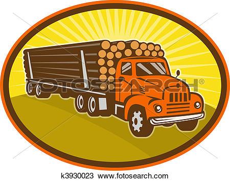 Drawing of vintage logging truck k3930023.