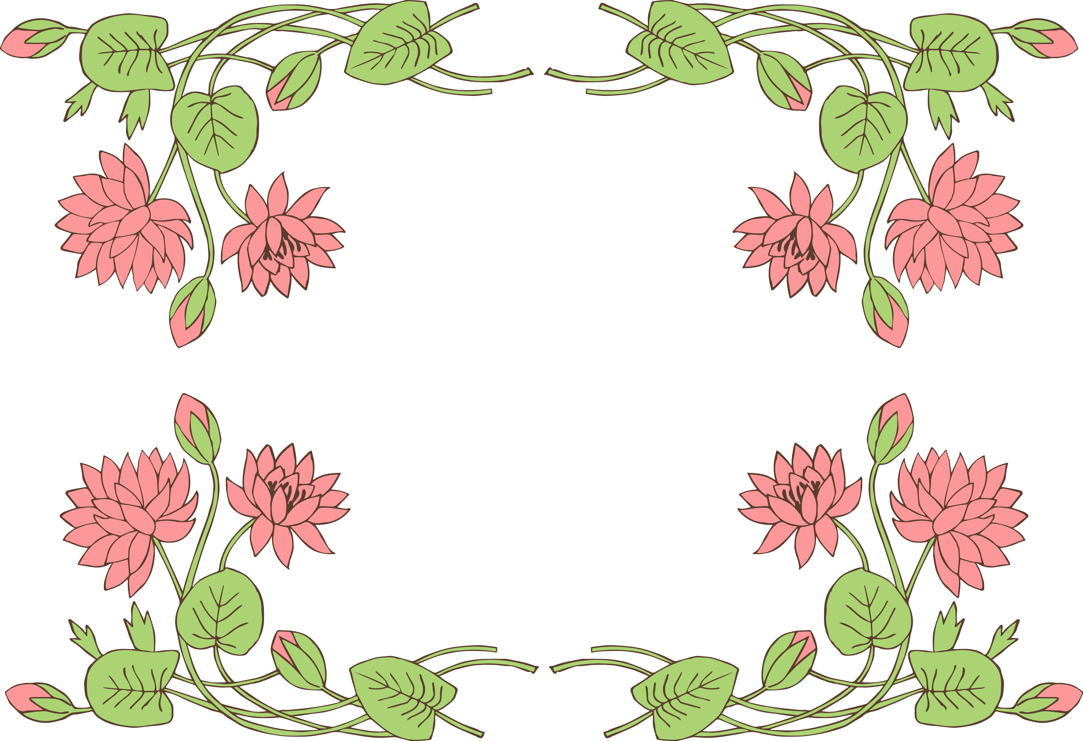 Lily Pad Lotus Flower BorderClip Art Image.