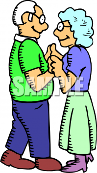 Old people in love clipart.