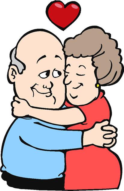 Elderly Cartoon Of Couple.