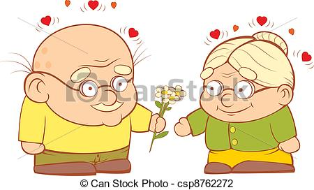 Vector Illustration of An old couple in love.
