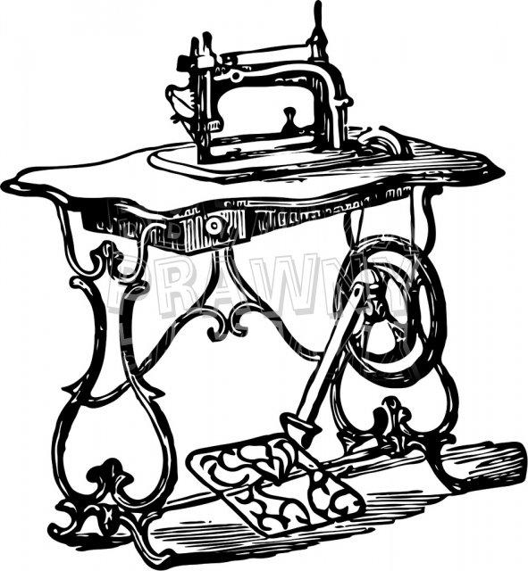Sewing machine clip art black and white.