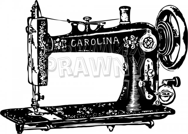 Old Sewing Machine Vintage Black and White Clip Art Objects.