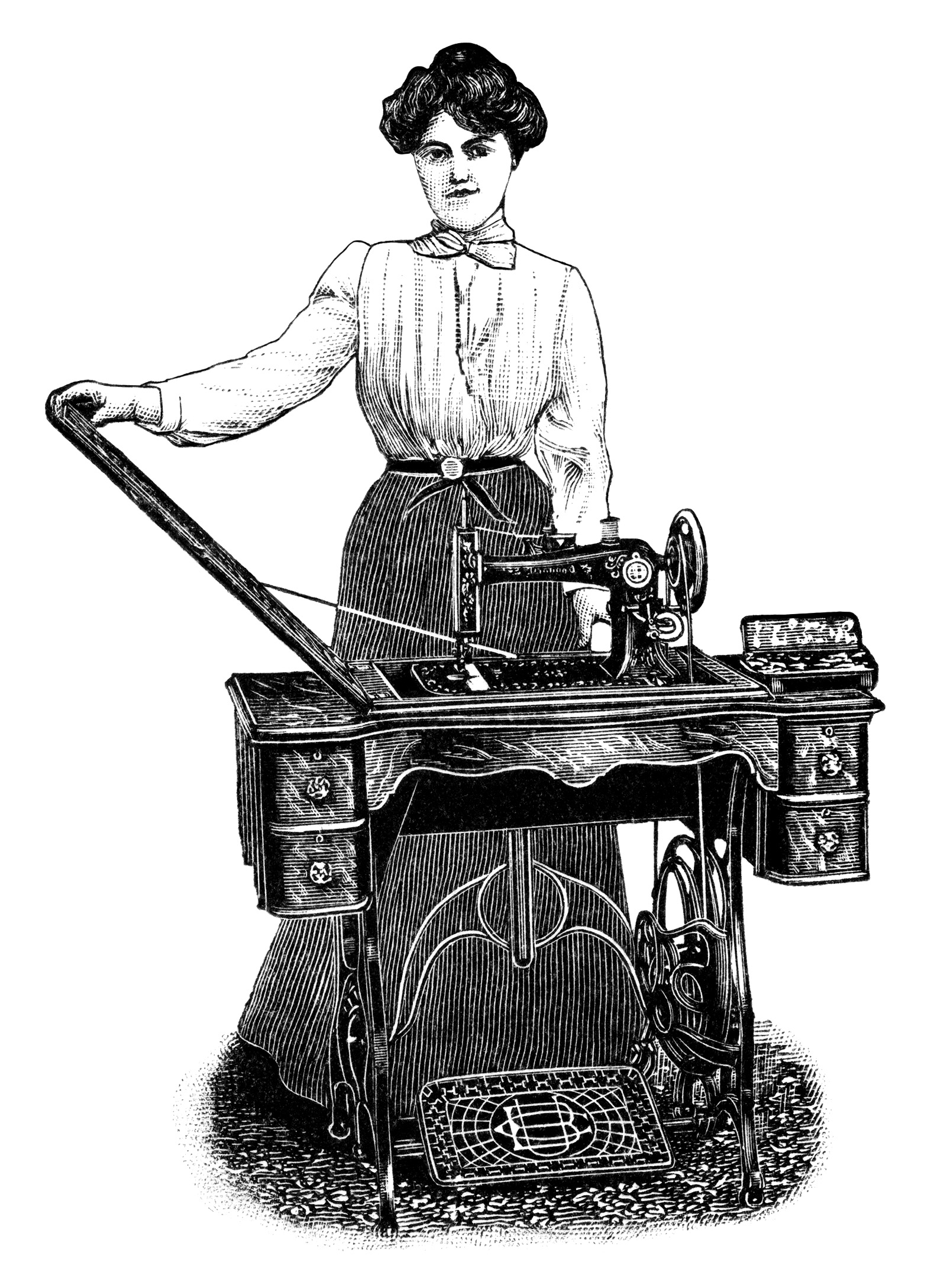 Woman sewing machine clipart.